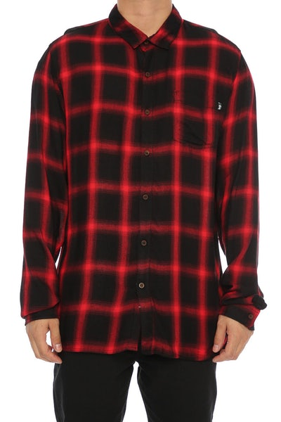 Stussy Philly Check Long Sleeve Shirt Burgundy