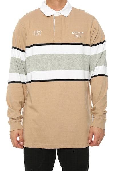 Stussy Lewis Rugby Tee Taupe/White