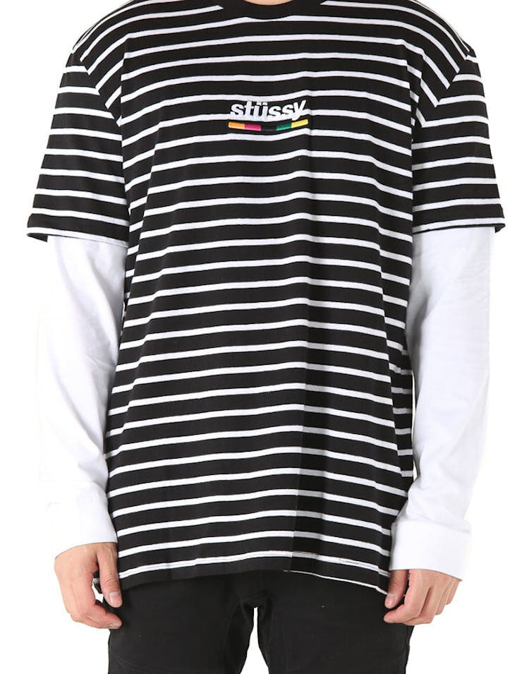 a182f968 Stussy Colours Stripe Short/Long Sleeve Tee Black