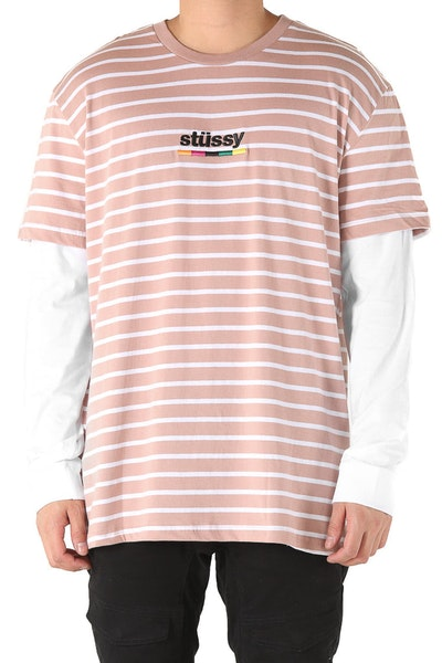Stussy Colours Stripe Short/Long Sleeve Tee Pink