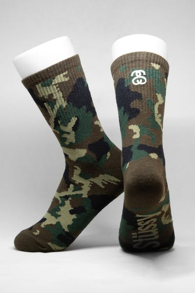 Stussy Women's Camo S Link Sock 3PK Multi-Coloured