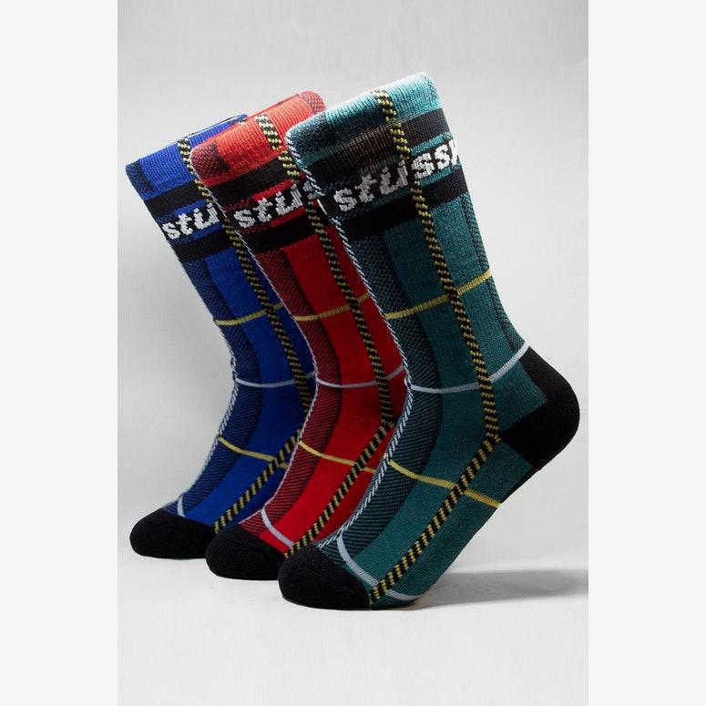 Stussy Check S Link Sock 3 Pack Multi-Coloured