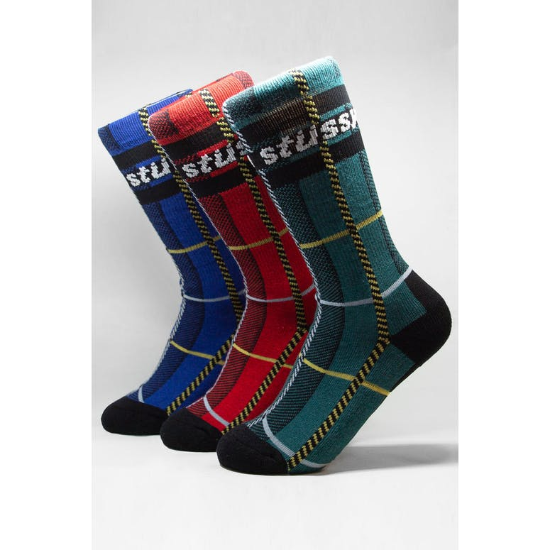 Stussy Check S Link Sock 3 Pack Multi-Coloured