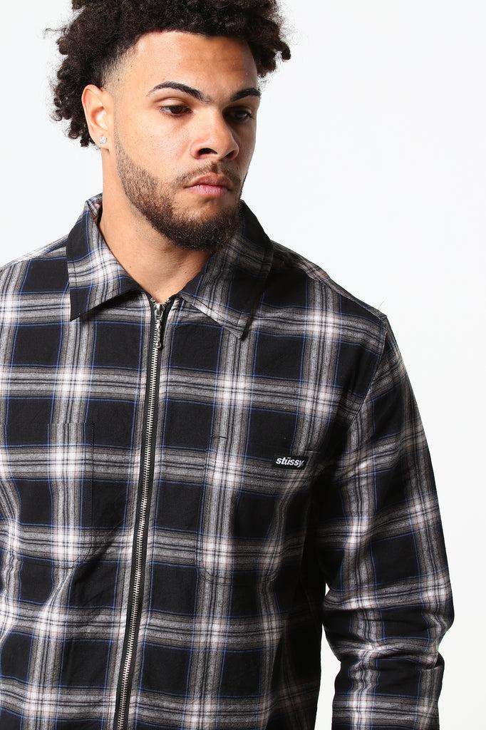 Thru Zip Check Shirt Black Otway Stussy wO8kn0P
