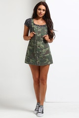 STUSSY WOMEN'S MARMONT PINAFORE CAMO