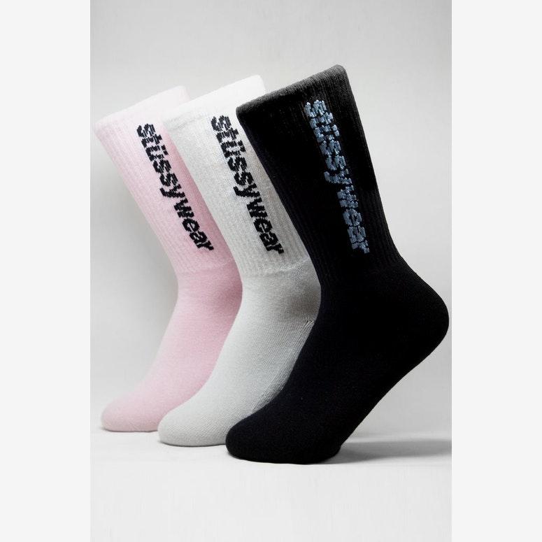 Stussy Vertical Italic Sock 3 Pack Multi-Coloured