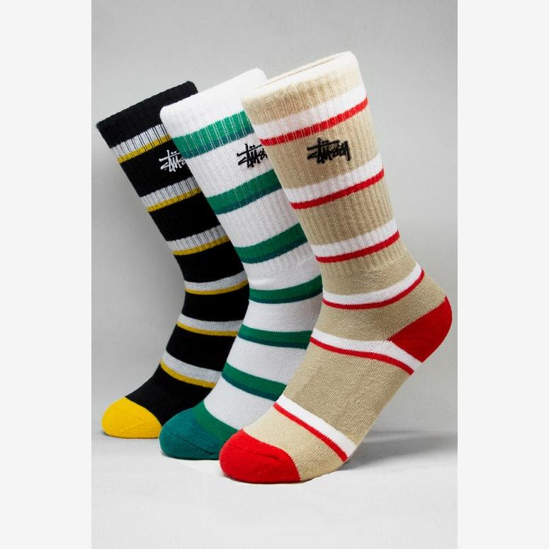 Stussy Stripe Graffiti Sock 3 Pack Multi-Coloured