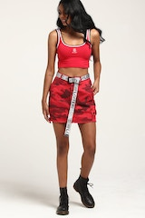 STUSSY WOMEN'S CAMO SKIRT RED/CAMO