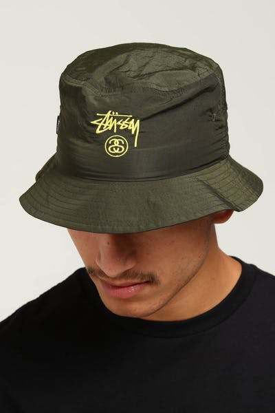 Stussy Crushable Stock Bucket Hat Green