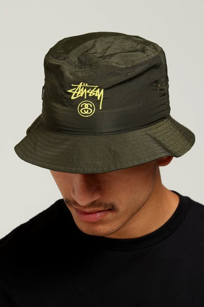 Stussy Crushable Stock Bucket Hat Green 27556845aed