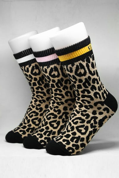Stussy Leopard Stripe Sock 3 Pack Leopard/Multi-Coloured