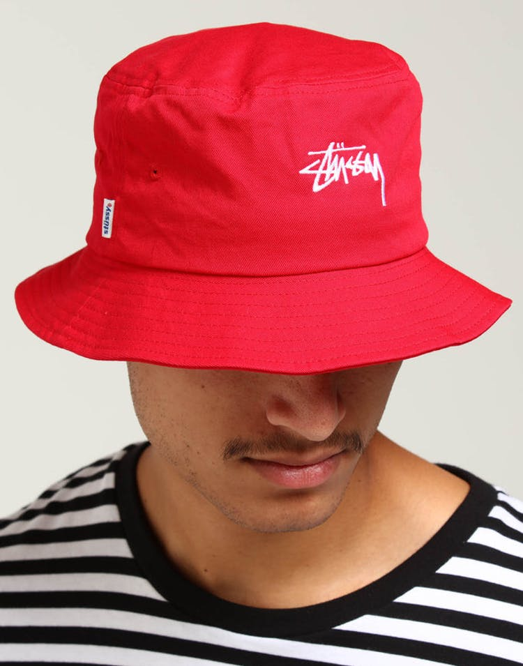6c7f0f77f Stussy Stock Bucket Hat Vintage Red