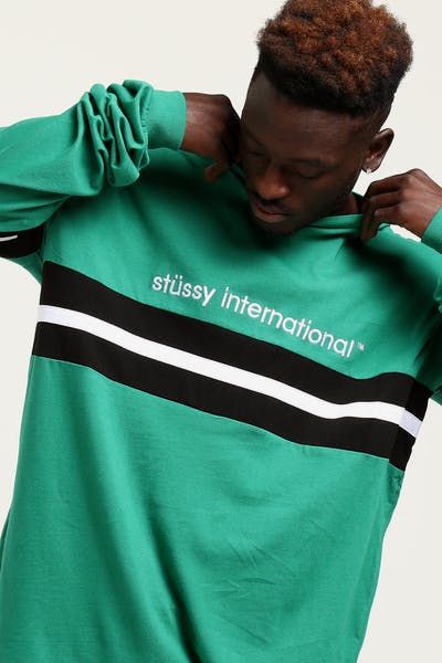 Stussy Lowercase Stripe LS Tee Kelly Green