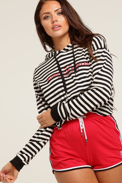 Stussy Women s Niche Crop Hood Black Stripe 8941534f3f
