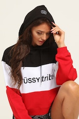 STUSSY WOMEN'S CHASE CROP HOOD RED/WHITE/BLACK