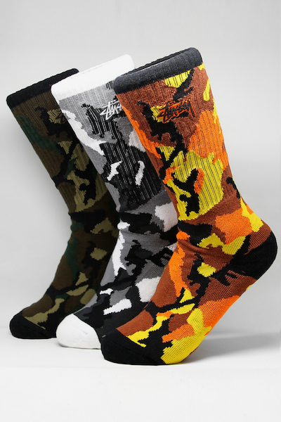 Stussy Triple Camo Sock 3PK Multi-Coloured