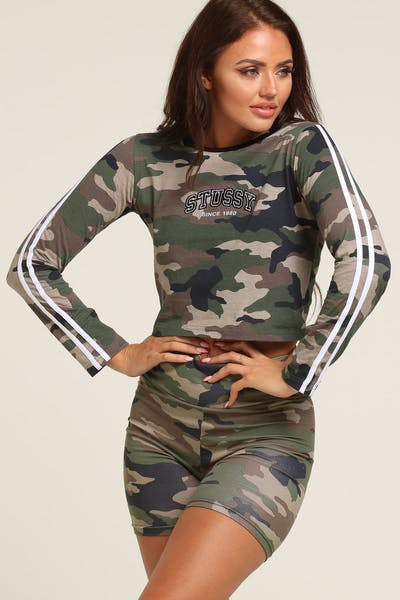 Stussy Women's Malone Fitted Crop LS Tee Camo