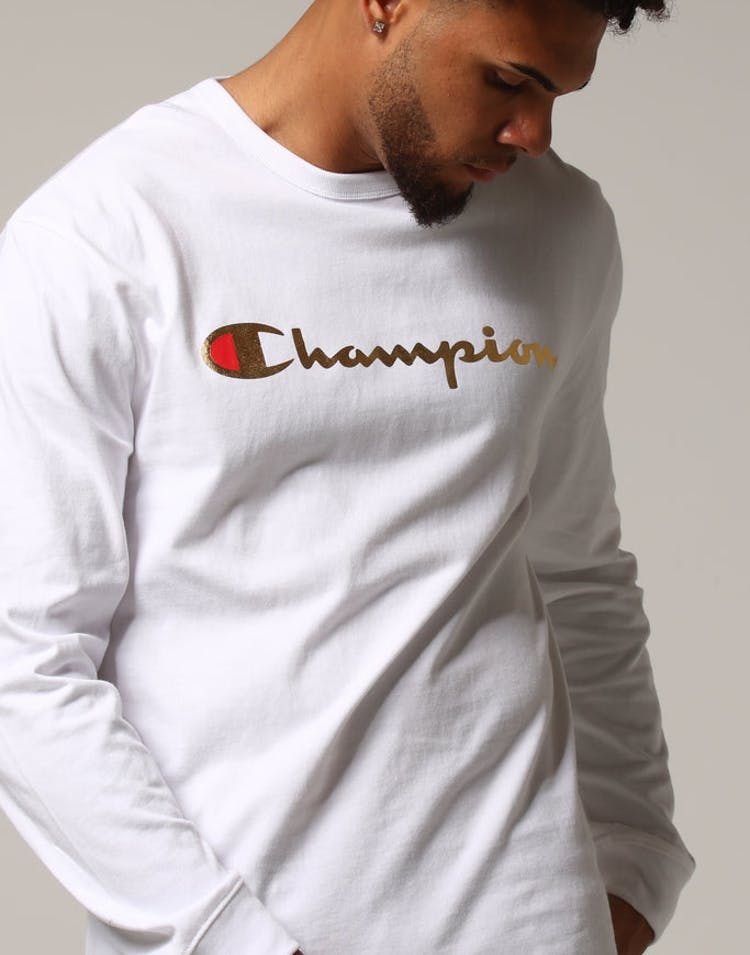 7c5bd2bf Champion L/S Tee W/Gold Script White – Culture Kings