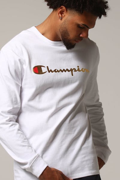 Champion L/S Tee W/Gold Script White