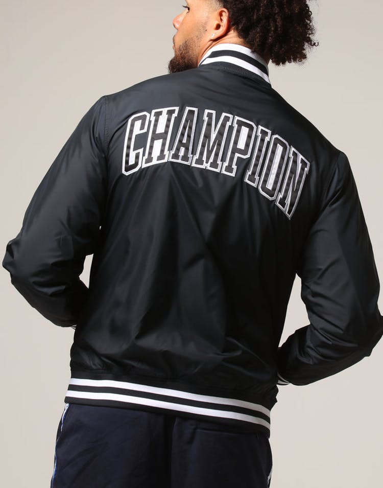 6afbabcc Champion Satin Baseball Jacket Black