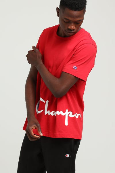 Champion Big Champion Script Tee Red