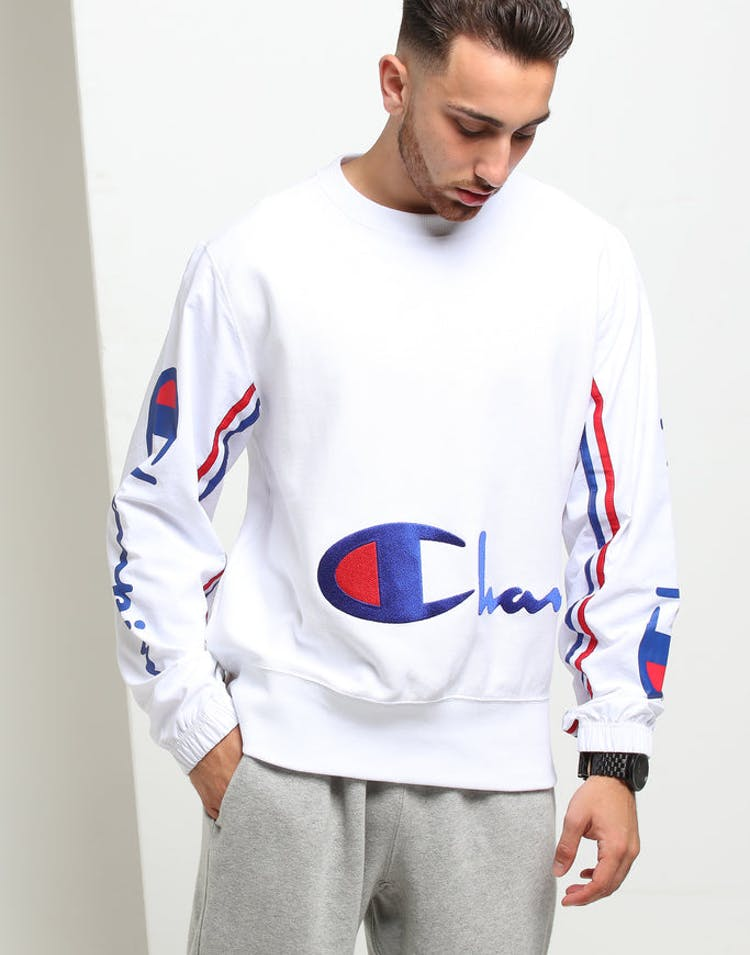Champion Reverse Weave Crew with Crinkle LS White