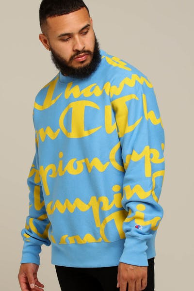 Champion Reverse Weave Crew Allover Blue