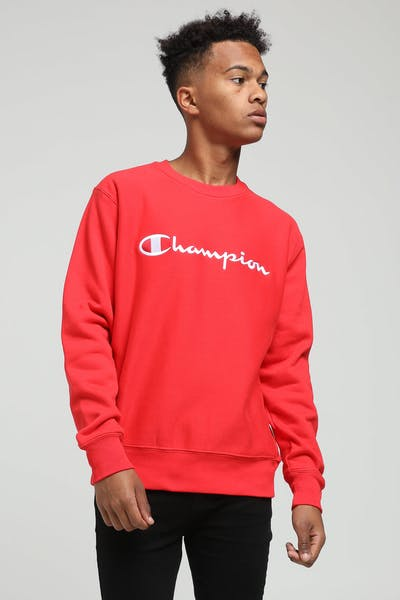 Champion Reverse Weave Embroidered Crew Red