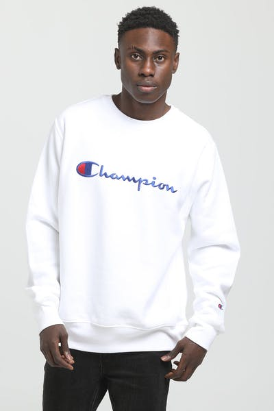 Champion Reverse Weave Embroidered Crew White