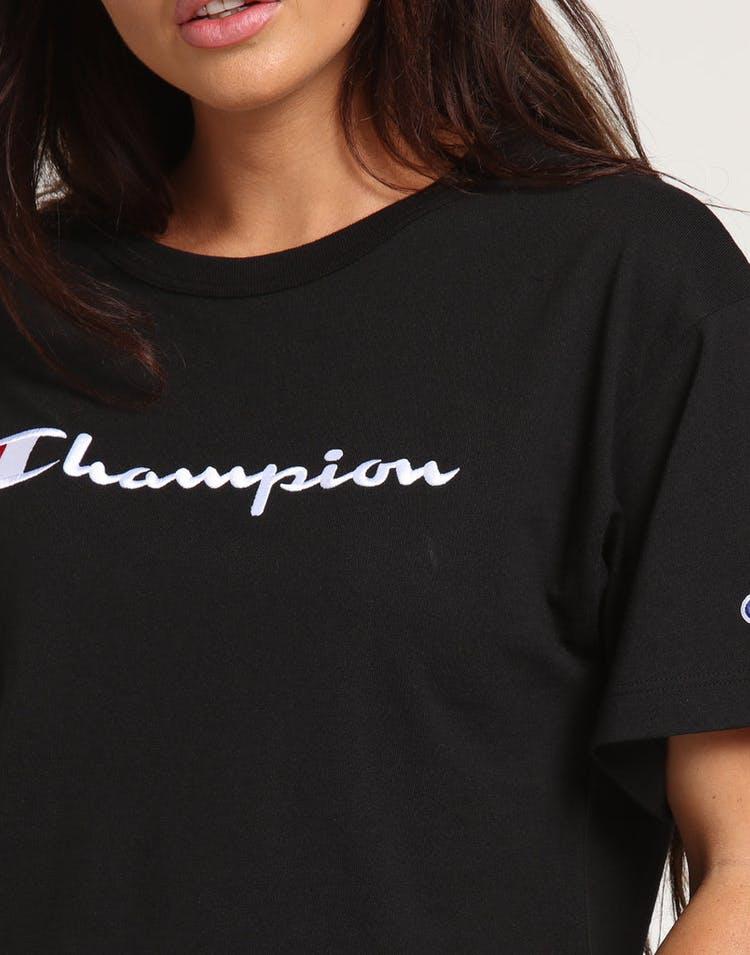 a3dc50ba Champion Women's Heritage Tee Large Script Black
