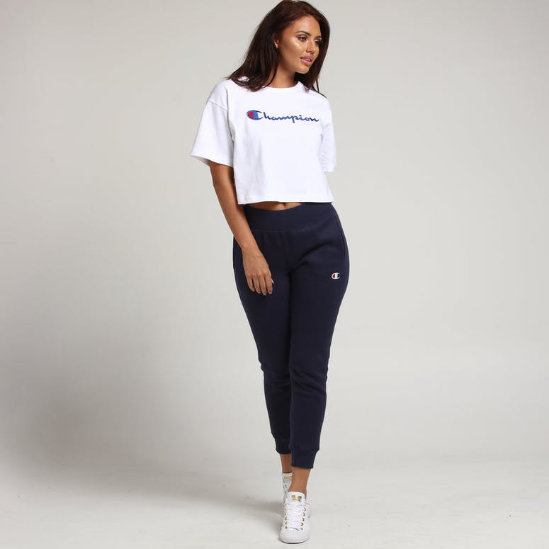 Champion Women's Heritage Tee Large Script White