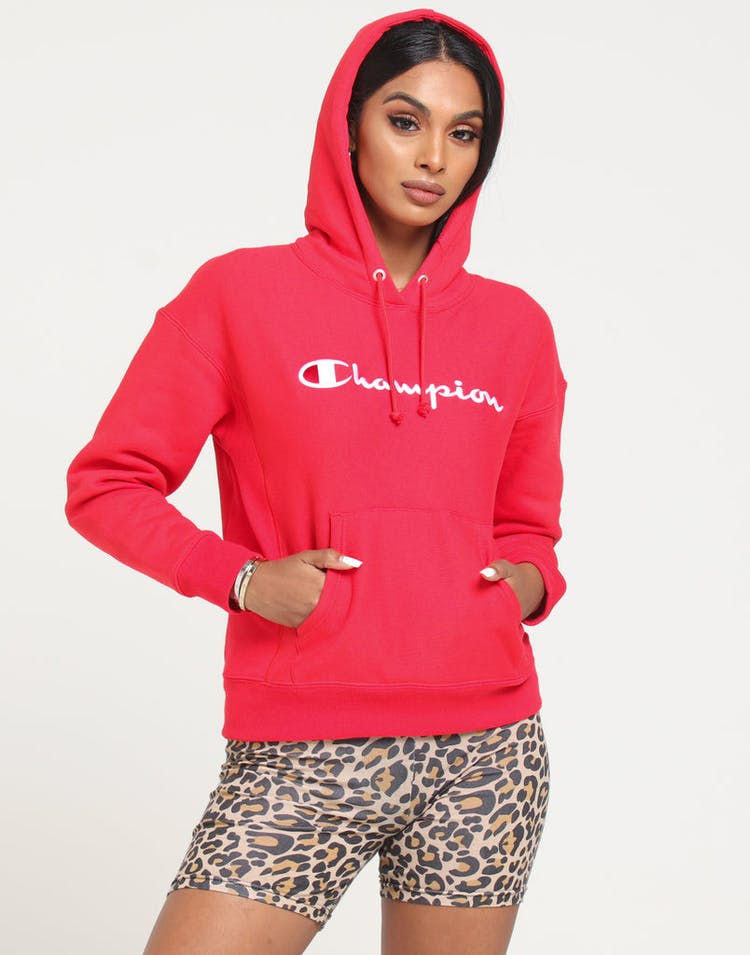 Champion Women's Rev Weave Script Hood Red