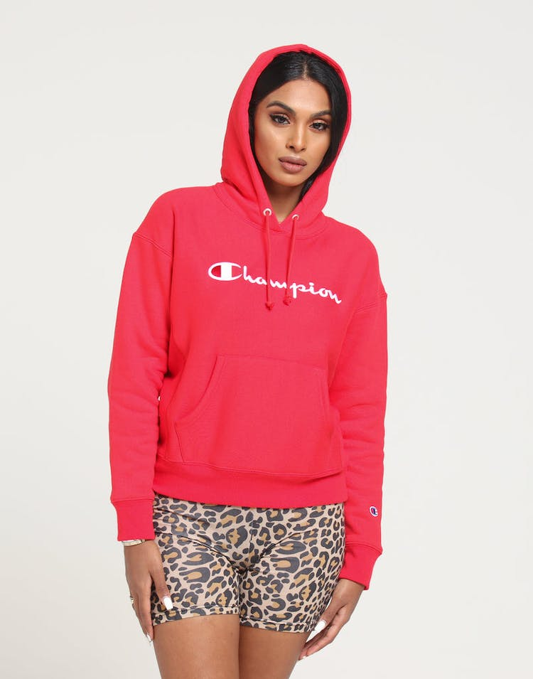 clear-cut texture professional design deft design Champion Women's Rev Weave Script Hood Red