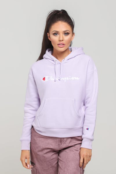 Champion Women's Rev Weave Script Hood Pale Violet Rose