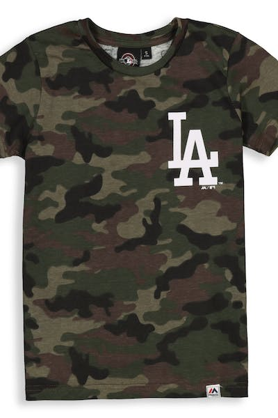 Majestic Athletic Youth Los Angeles Dodgers Team Logo Tee Camo/White