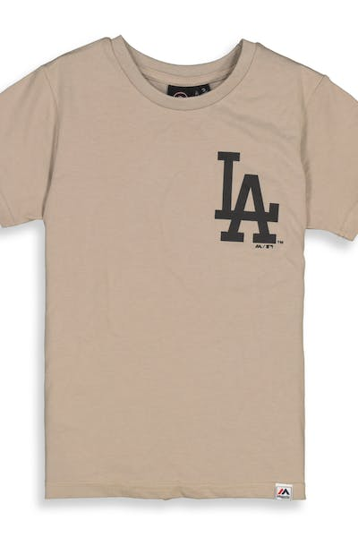 Majestic Athletic Youth Los Angeles Dodgers Team Logo Tee Tan