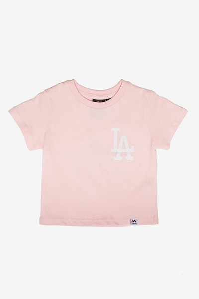 Majestic Athletic Toddler Los Angeles Dodgers Team Logo Tee Pink