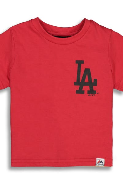 Majestic Athletic Toddler Los Angeles Dodgers Team Logo Tee Red