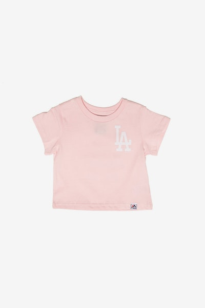 Majestic Athletic Infant Los Angeles Dodgers Team Logo Tee Pink