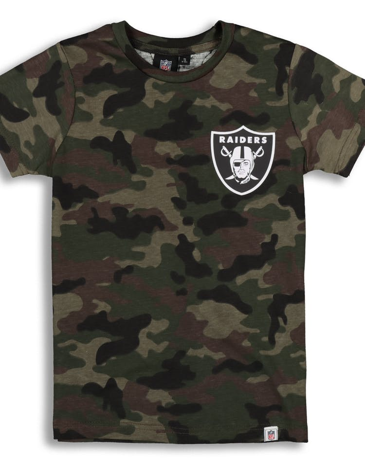 82df9bb0 Majestic Athletic Youth Raiders Team Logo Tee Camo/White