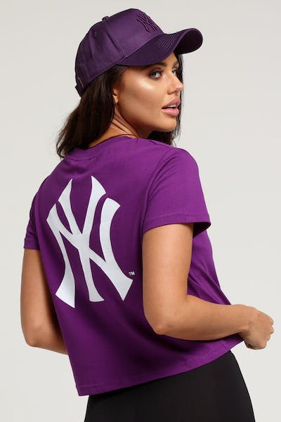 Majestic Athletic Women's New York Yankees Camila Cropped Tee Purple