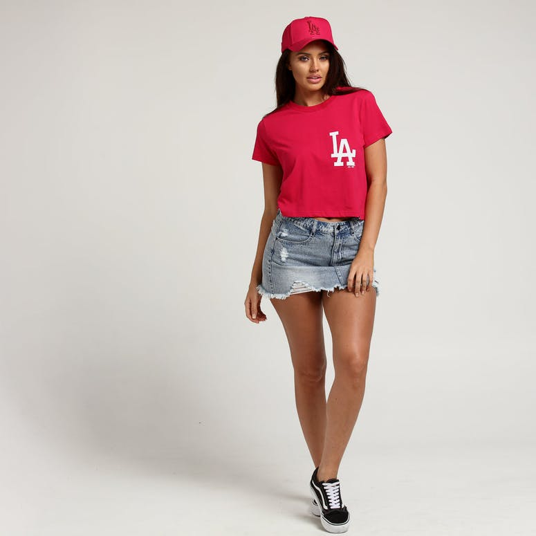 Majestic Athletic Women's Los Angeles Dodgers Camila Cropped Tee Dark Pink