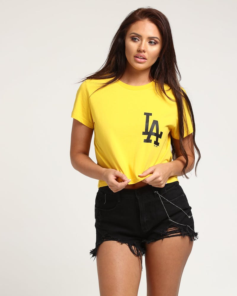 Majestic Athletic Women's Los Angeles Dodgers Camila Cropped Tee Gold