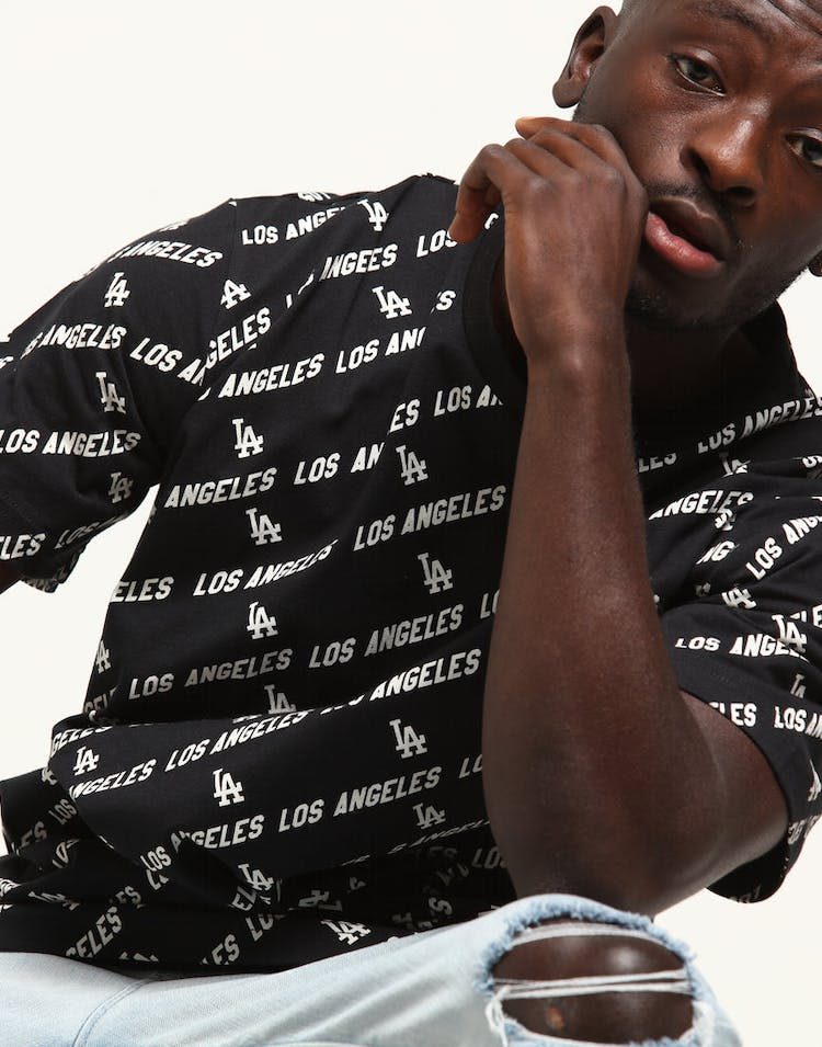 Majestic Athletic Los Angeles Dodgers All Over Print Tee Black