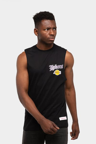 Mitchell & Ness Los Angeles Lakers Old English Muscle Black