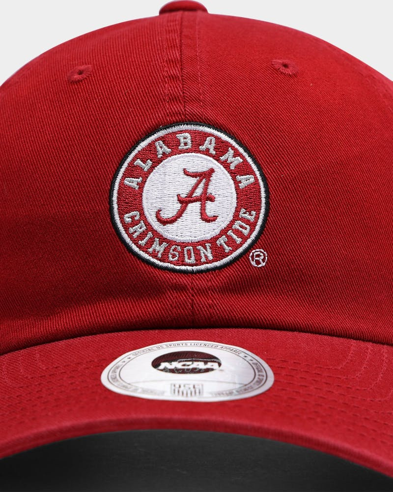 NATIONAL COLLEGIATE ATHLETIC ASSC Alabama Crimson Tide Small Team Crest Dad Hat Strapback Washed Crimson