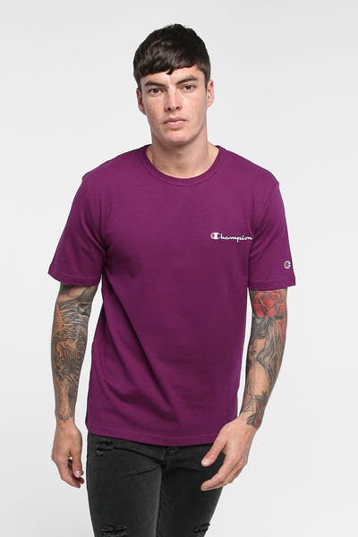 CHAMPION HERITAGE EMBROIDERED SCRIPT TEE VENETIAN PURPLE