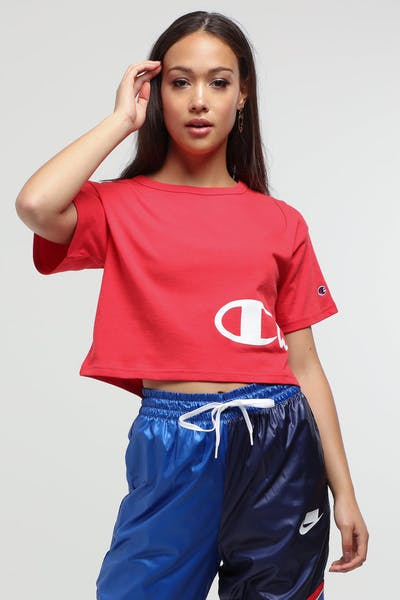 Champion Women's Cropped Tee Graphic Red