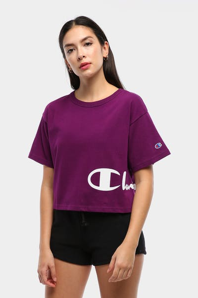 Champion Women's Cropped Graphic Tee Venetian Purple