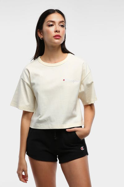 Champion Women's Heritage Mini Script Tee Chalk White